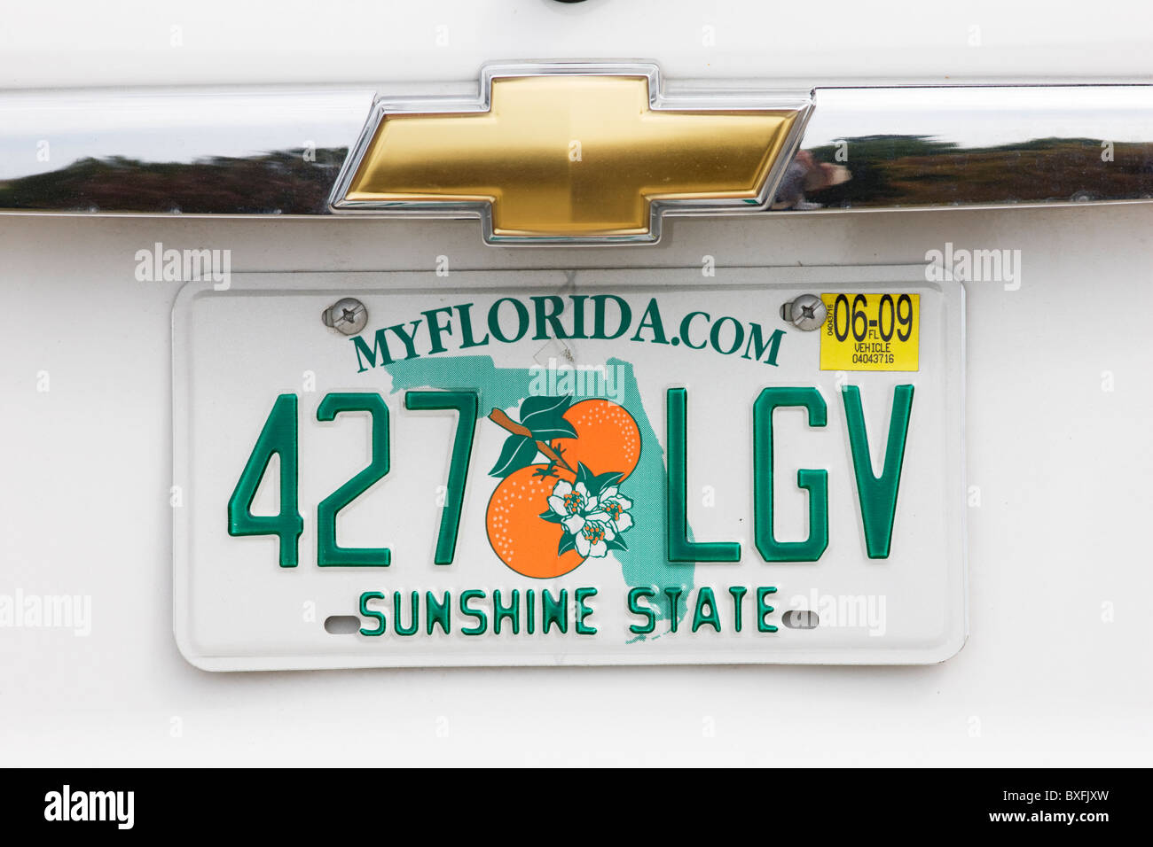 Vehicle registration plate on vehicle in Anna Maria Island, United States of America - Stock Image