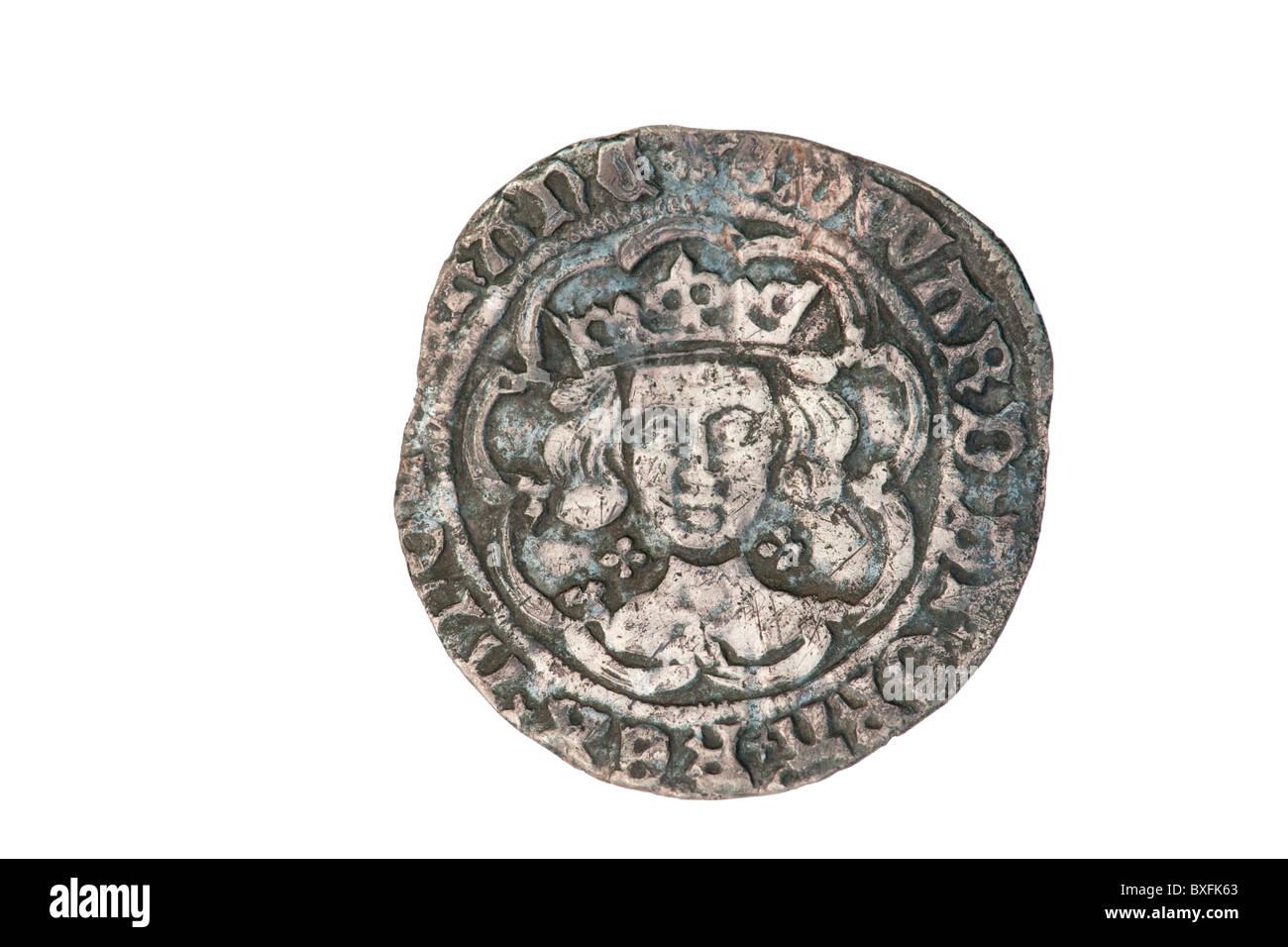 Silver groat of King Edward - obverse - Stock Image