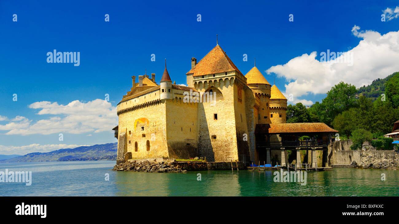 Chateaux Chillion on Lac Leman, Montreaux, Vaud Switzerland - Stock Image