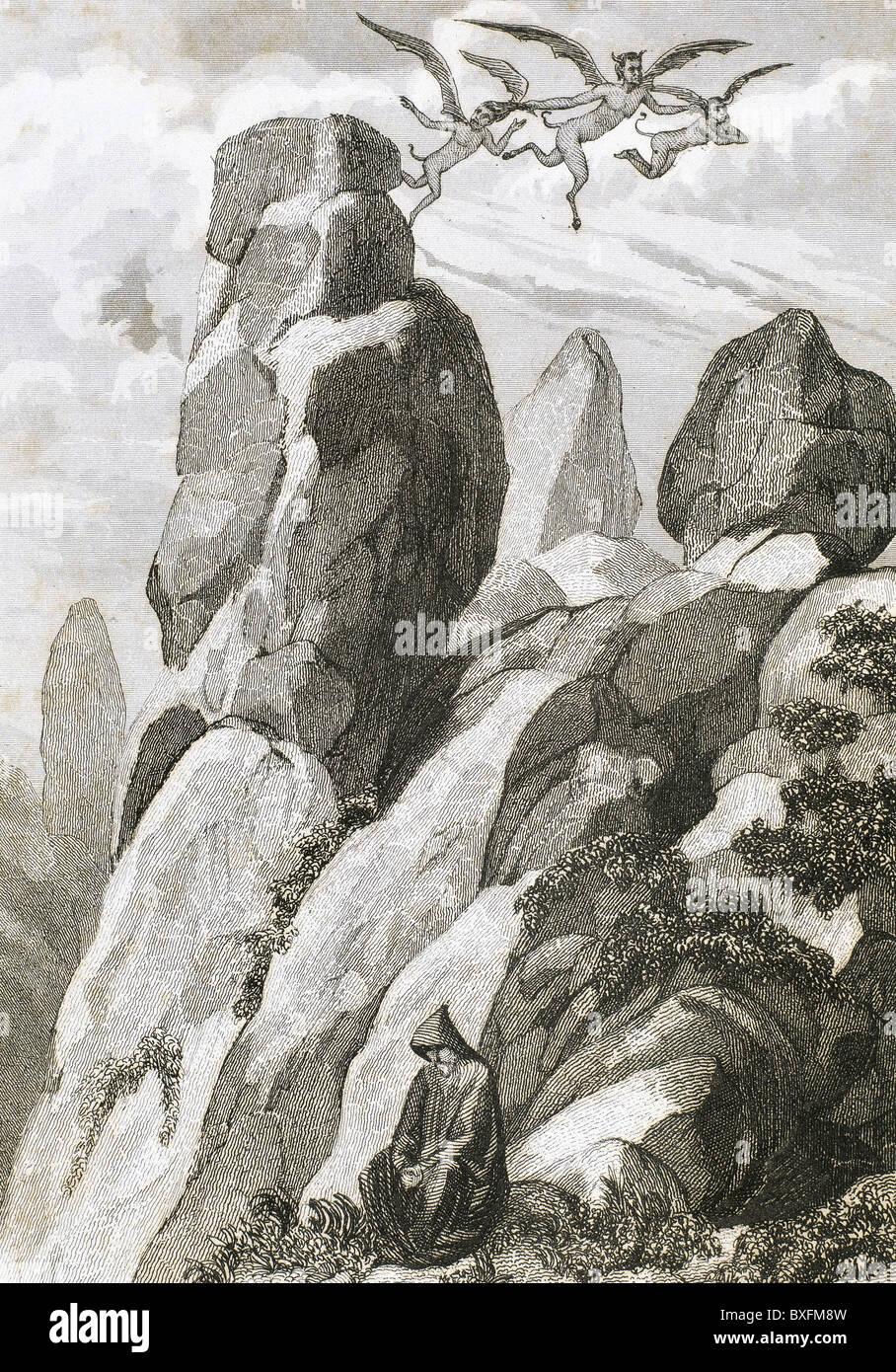 Legend of Fray Juan Garin, hermit of Montserrat. Fray Garin meditating on the mountain of Montserrat. - Stock Image
