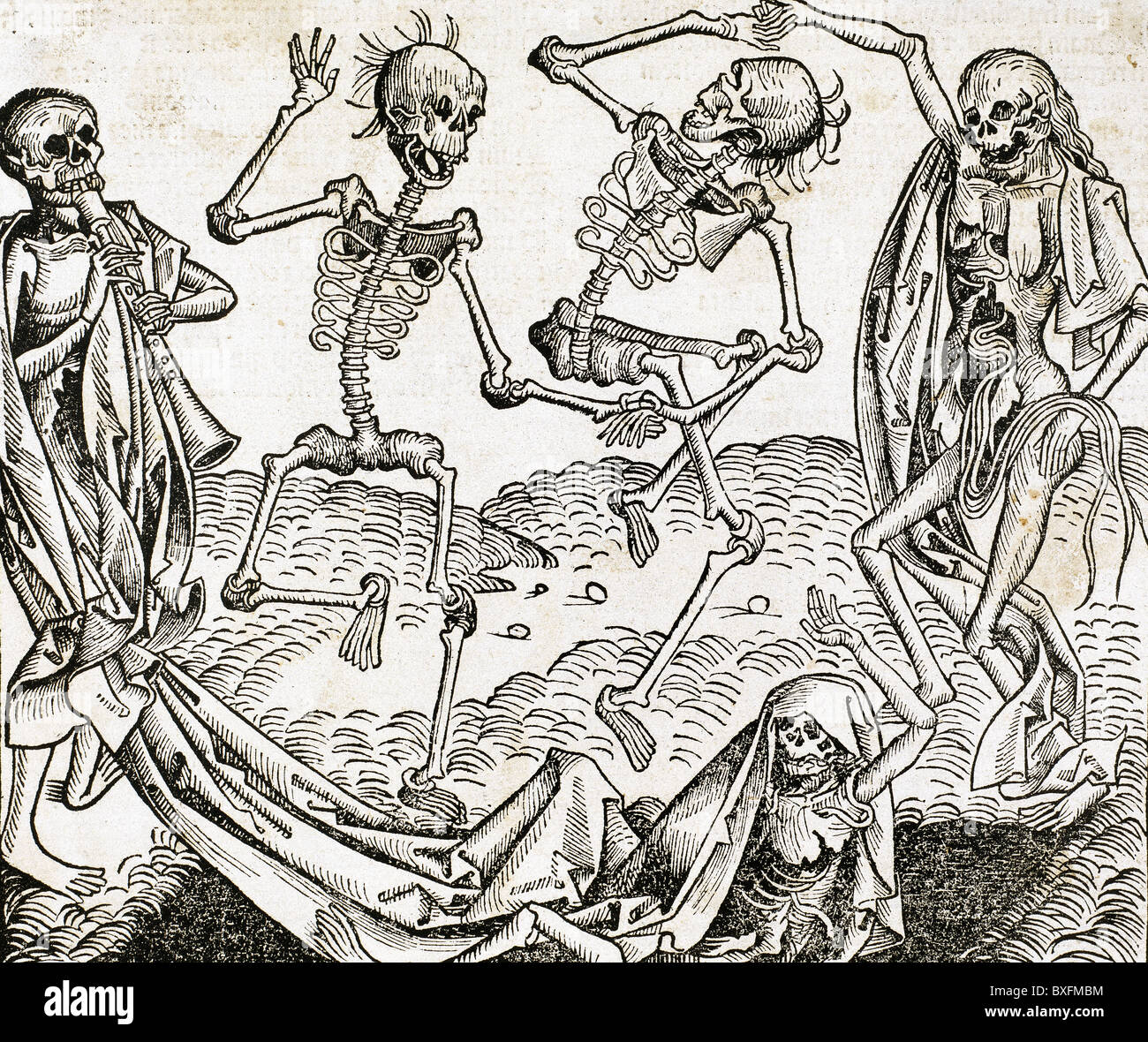 The Dance of Death (1493) by Michael Wolgemut, from the Liber chronicarum by Hartmann Schedel. Engraving. - Stock Image
