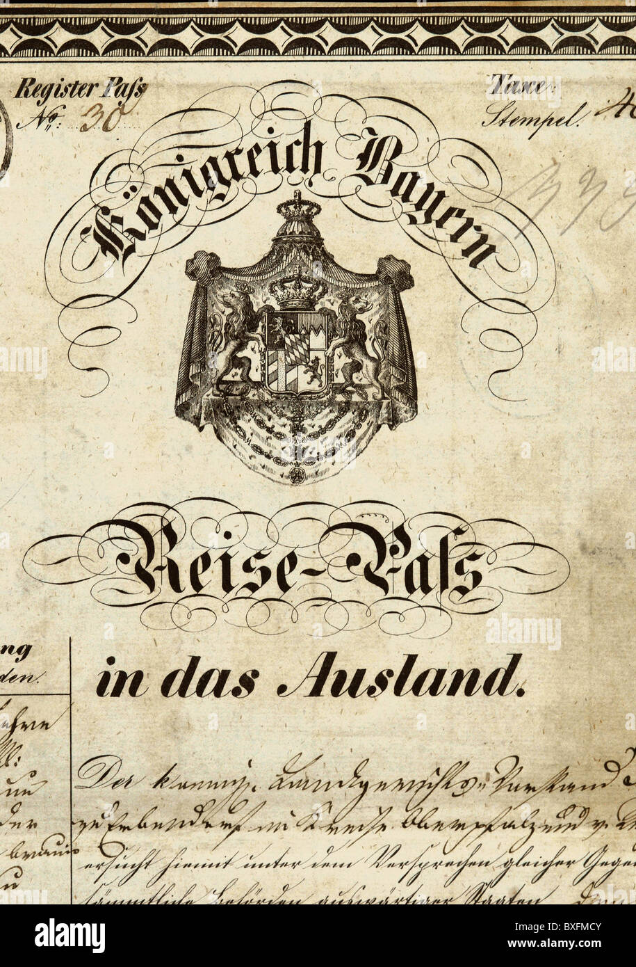 documents, passport, Kingdom of Bavaria, Erbendorf, 30.7.1855, Additional-Rights-Clearences-NA Stock Photo
