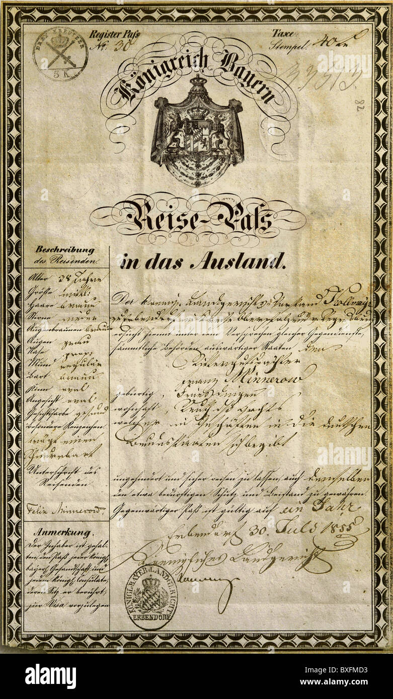 documents, passport, Kingdom of Bavaria, issüd in Erbendorf, 30.7.1855, Additional-Rights-Clearences-NA - Stock Image