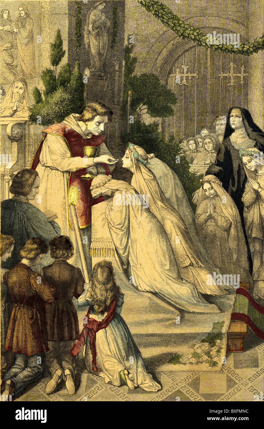 religion, Christianity, memento at the first communion, coloured wood engraving, Germany, circa 1865, Additional - Stock Image
