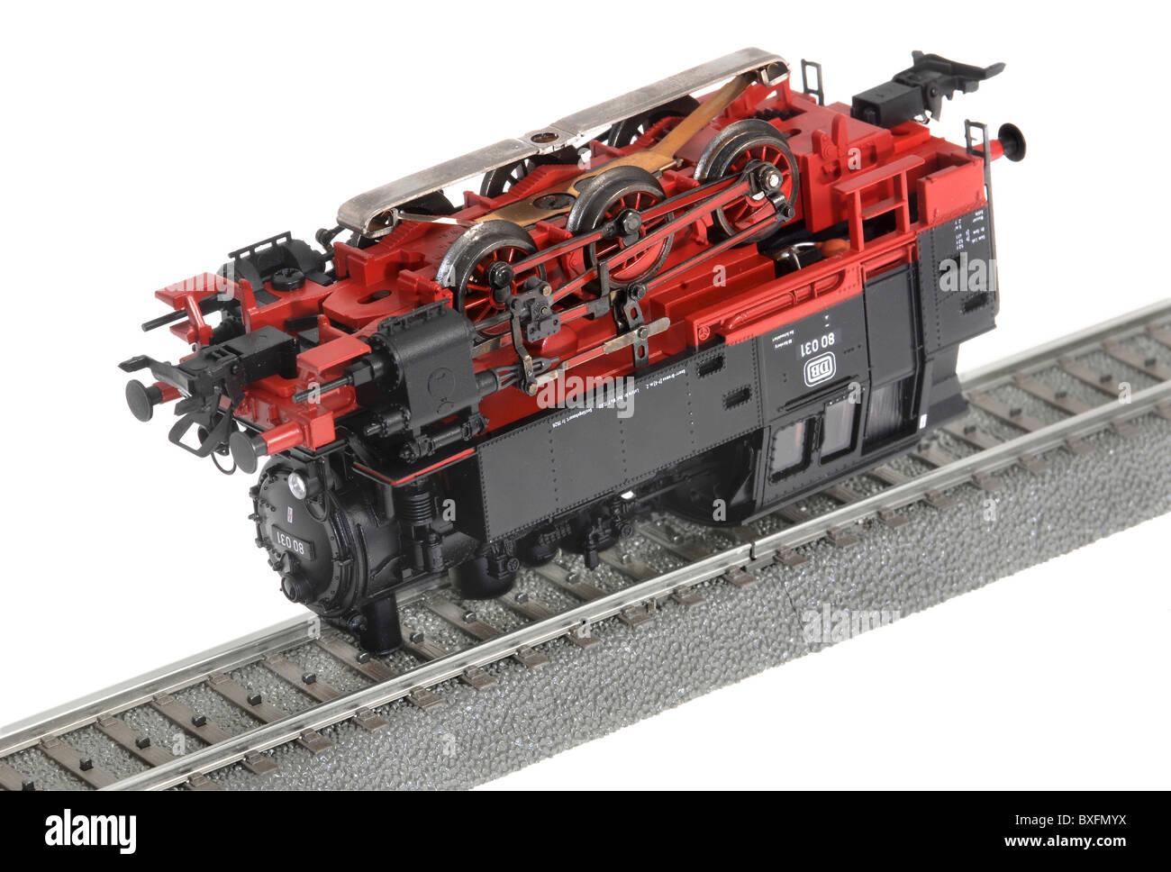 toy, model railway, Märklin steam locomotive, upside down, Germany, 1990s, 90s, 20th century, historic, historical, - Stock Image