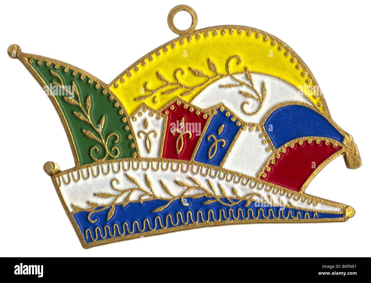 carnival, duncecap, prince cap, enamel stick, 1980s, 80s, 20th century, historic, historical, Shrove Tuesday, symbol, - Stock Image