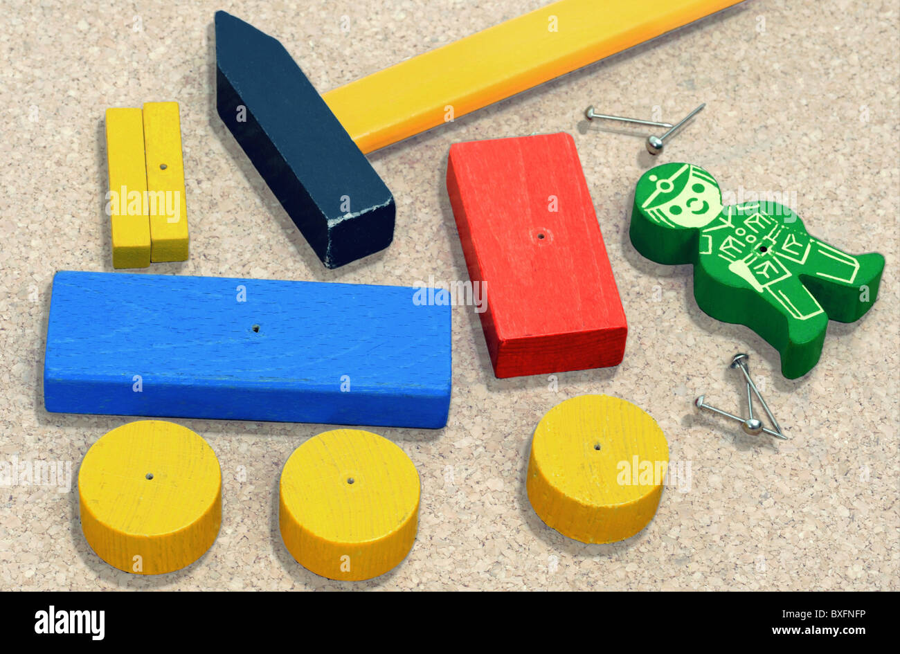 toys, toy train, mechanic puzzle, wooden toy blocks, building bricks, Germany, 20th century, historic, historical, - Stock Image