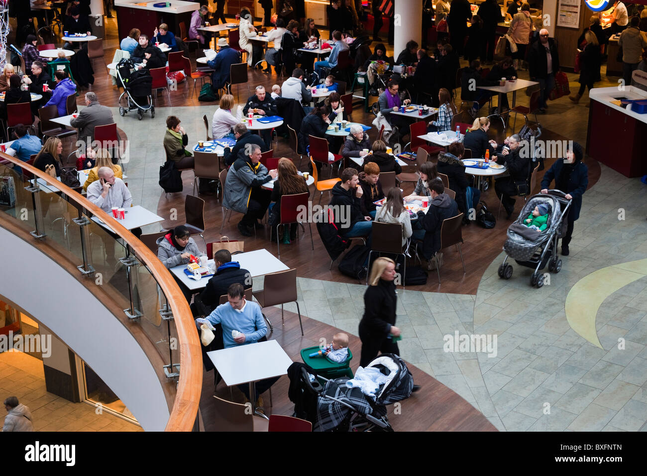Fast food restaurants and seating area in a modern shopping mall, Argyll Street, Glasgow, Scotland Stock Photo