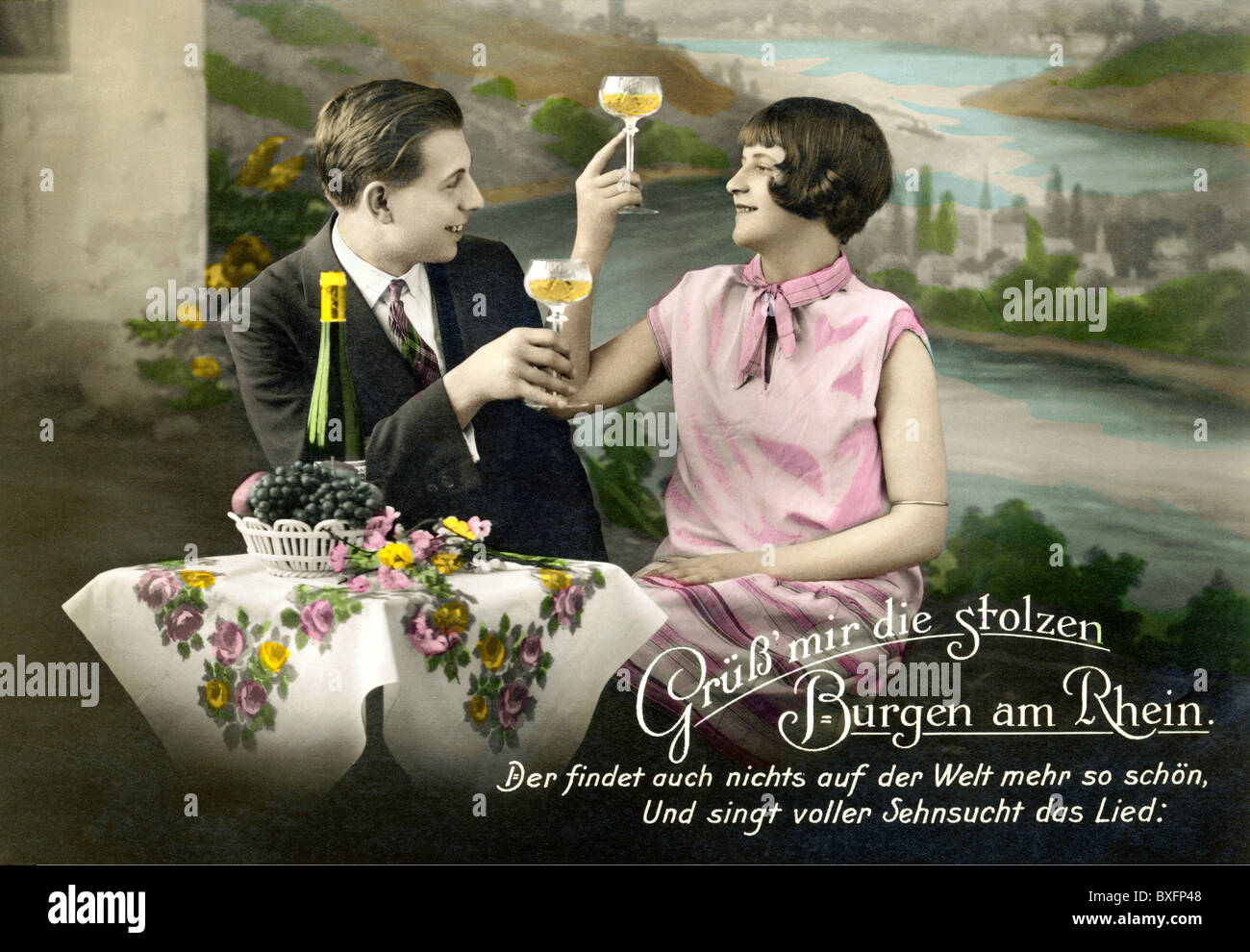 Kitsch greeting cards couple in love drinking wine germany kitsch greeting cards couple in love drinking wine germany circa 1928 1920s 20s rhine valley song text flirting germ m4hsunfo
