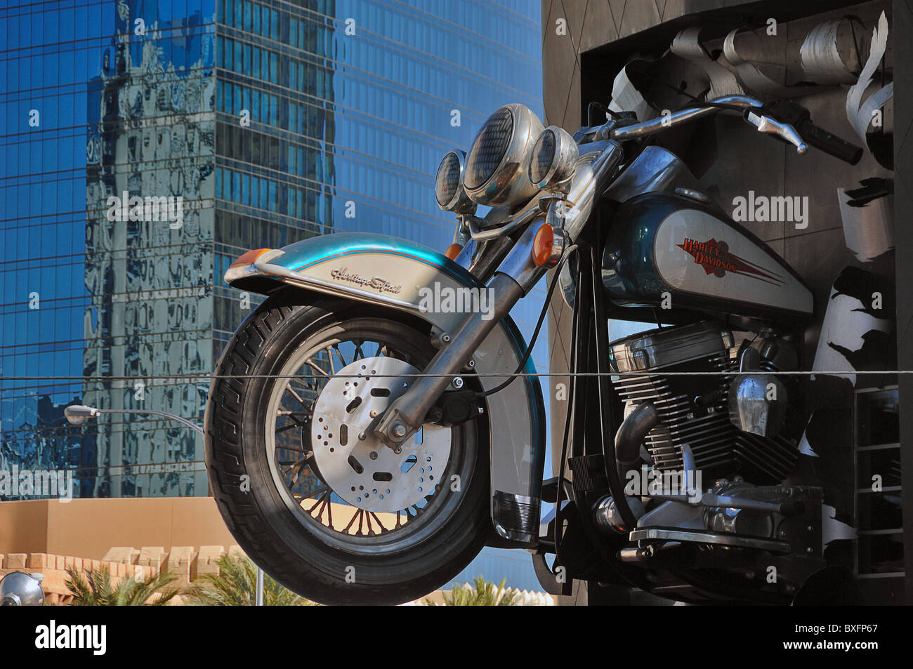 Advertising Model Of A Harley Davidson Motor Cycle Outside The Hd