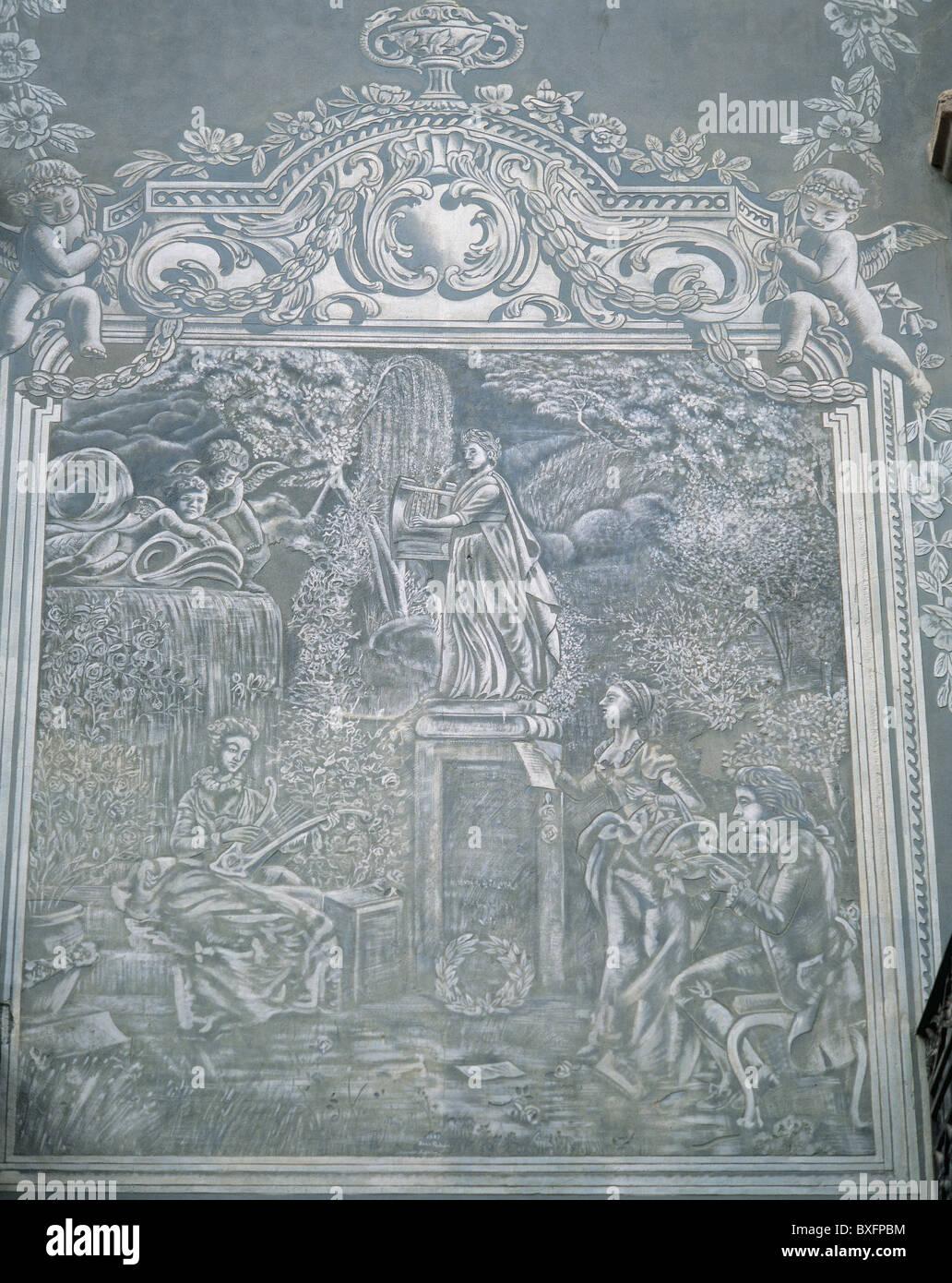 19 th century art. Casa Masferrer. Sgrafitto. Vic. Catalonia. Spain. - Stock Image