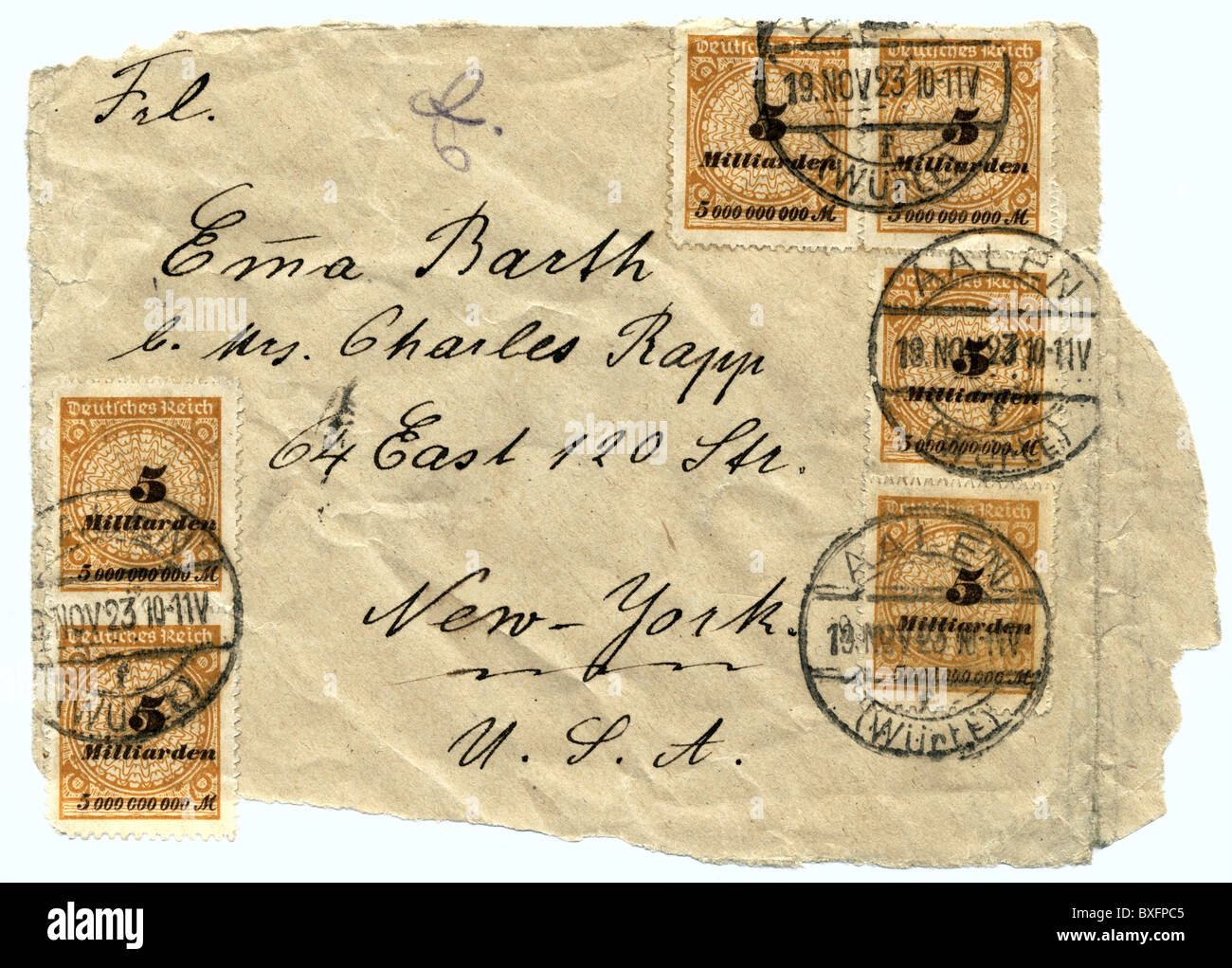 post, stamps on letter, inflation letter with postage, Germany, 1923, 1920s, 20s, 20th century, historic, historical, - Stock Image
