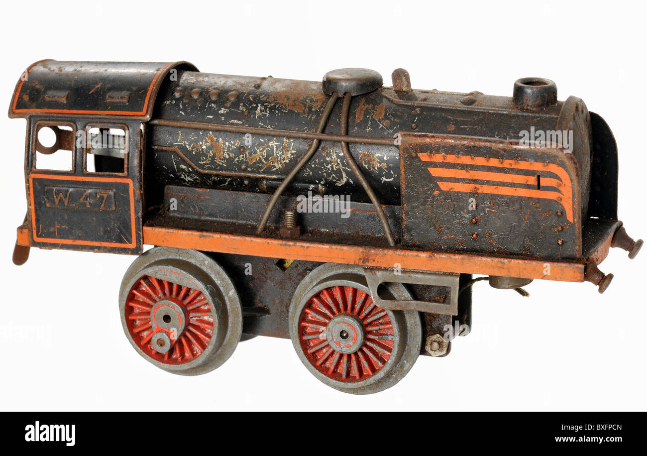 toys, toy train, locomotive, clockwork engine, Germany, 1947, 1940s, 40s, 20th century, historic, historical, made - Stock Image