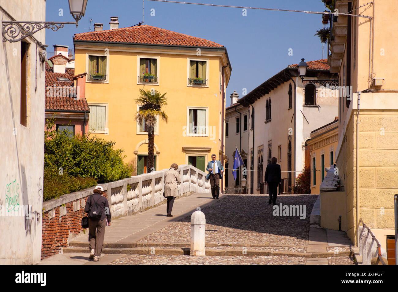 Back-street in town of Vicenza, Veneto Italy - Stock Image