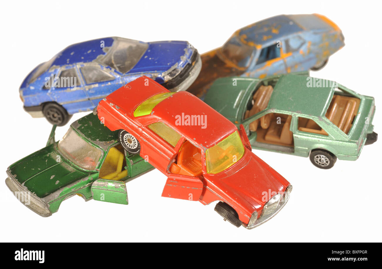 toys, toy car, scrap yard with cars, Germany, symbol image, 21st century, historic, historical, scrapping bonus, - Stock Image