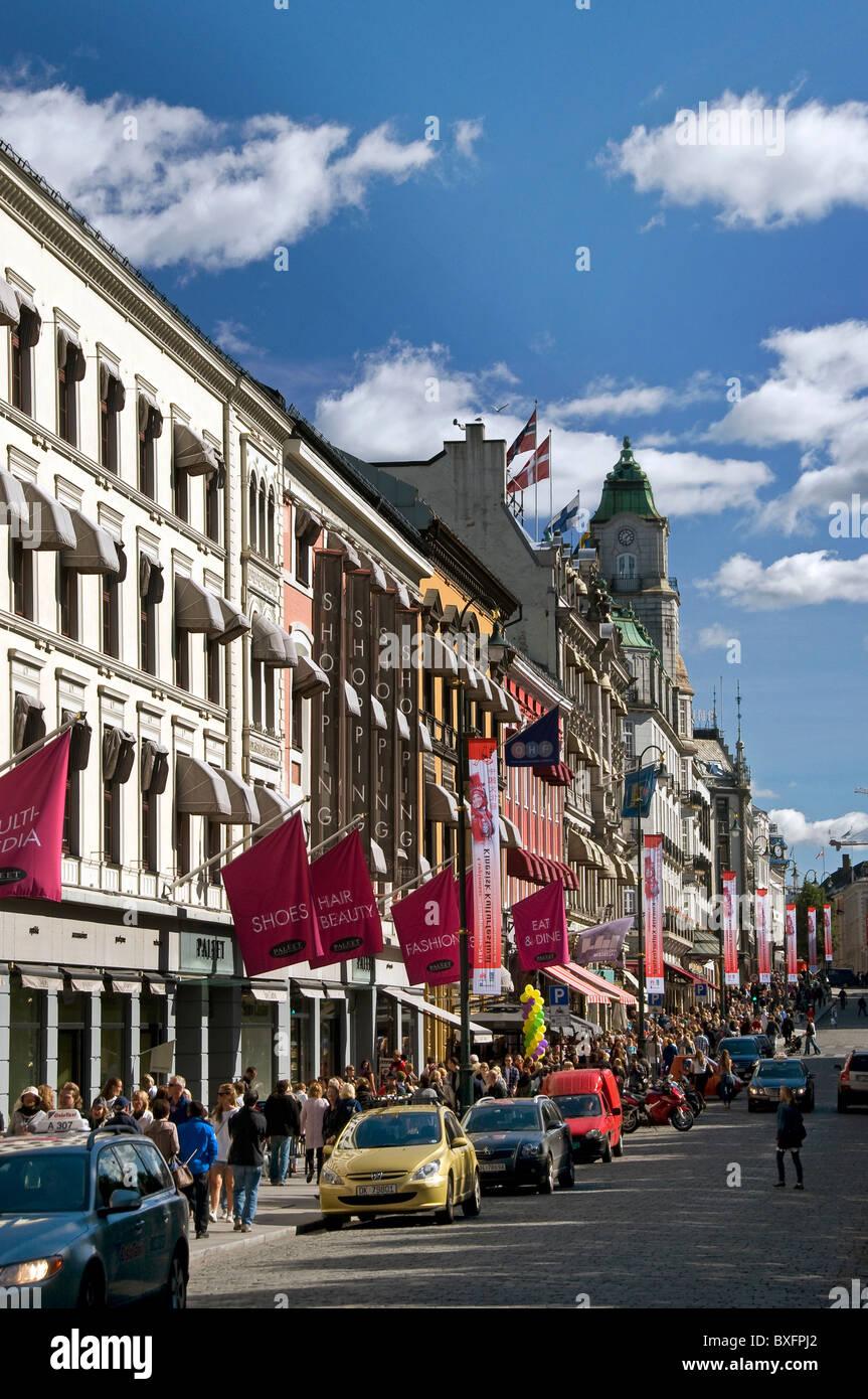 Karl Johan Gate Oslo Norway - Stock Image