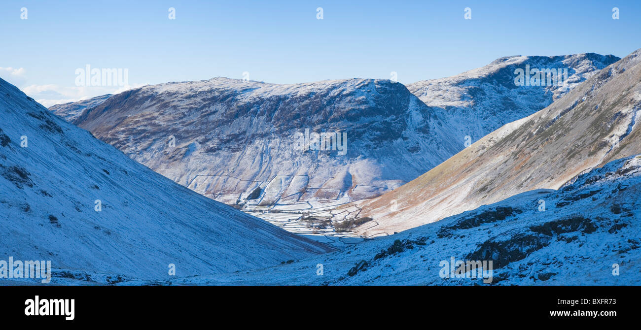 Wasdale Head beneath Yewbarrow from Sty Head. Lake District Natonal Park. Cumbria. England. UK. - Stock Image
