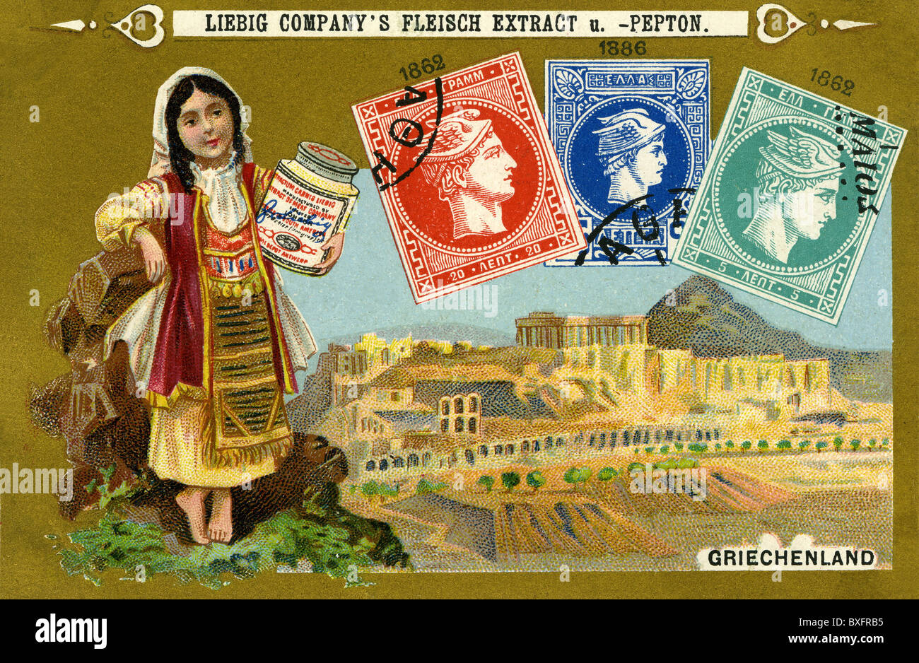 mail / post, postage stamps, Greek postage stamps, 1862, 1886, Liebig collection card, Germany, circa 1898, 1890s, - Stock Image