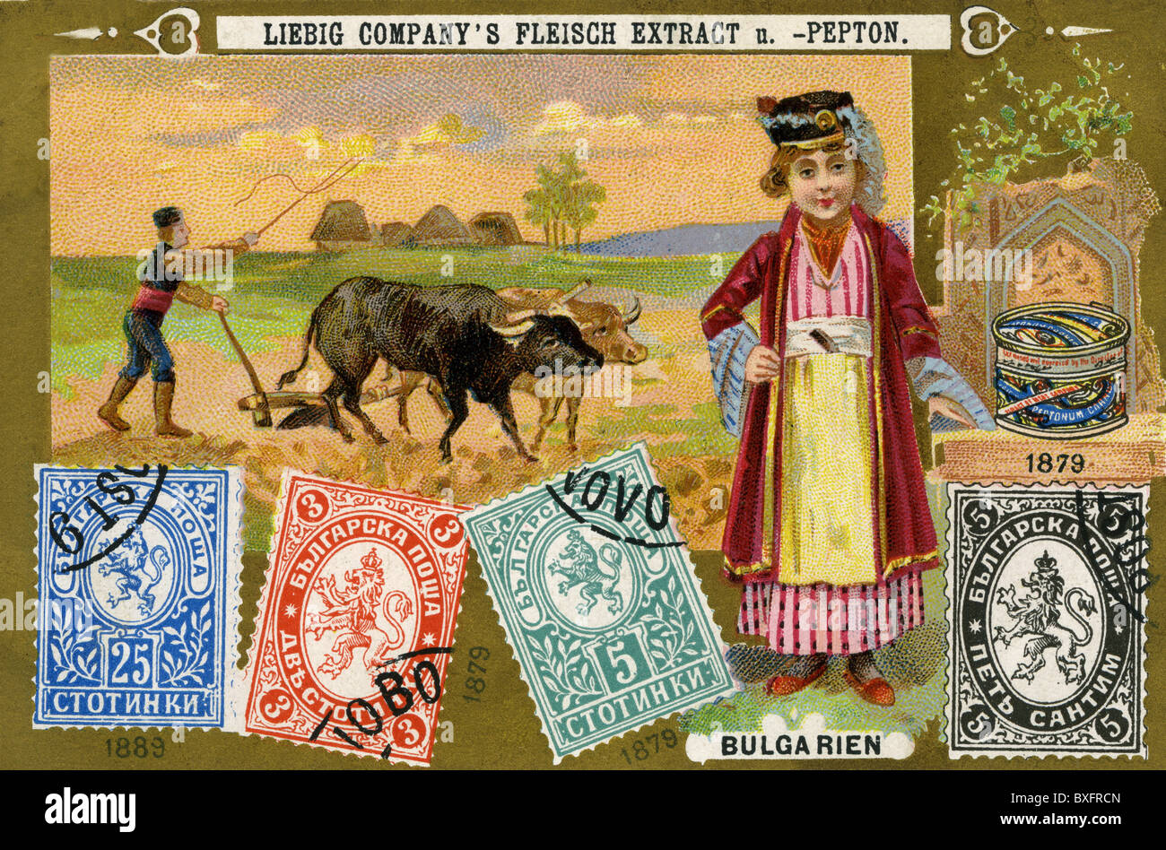 mail / post, postage stamps, Bulgarian postage stamps, 1879, 1889, Liebig collection card, Germany, circa 1898, - Stock Image