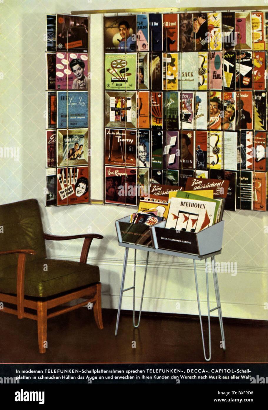 music, record, record shop, records of Telefunken, Decca and Capitol ...