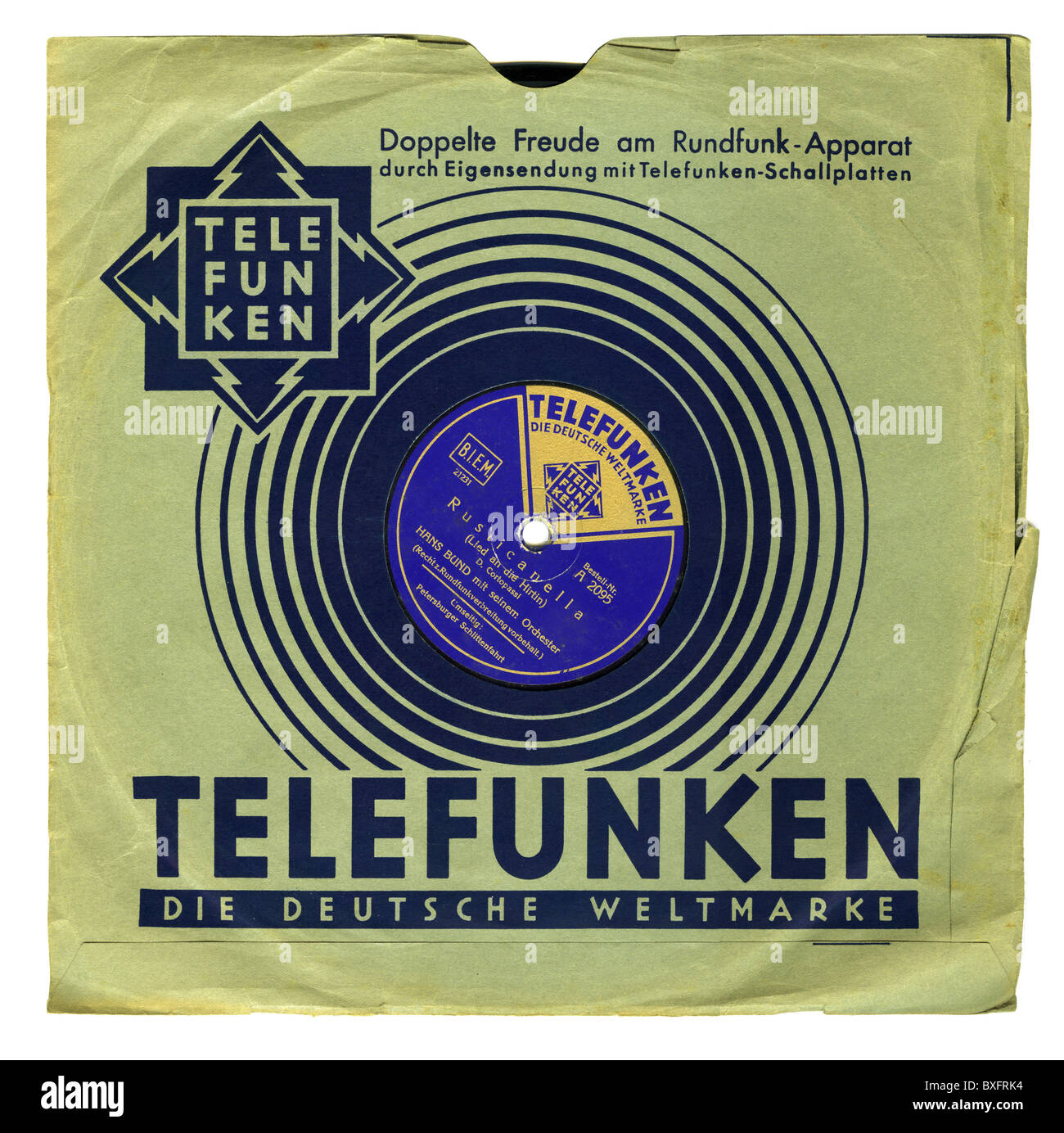 music, records, Telefunken, long-playing record in record sleeve, Rusticanella, interpreter Hans Bund with his orchestra, - Stock Image