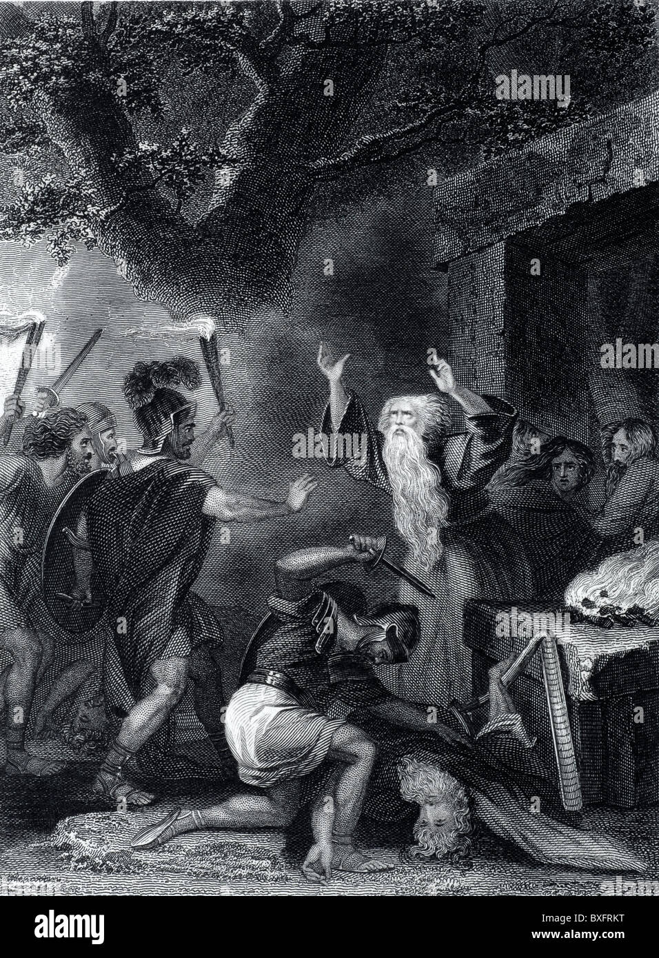 Roman Soldiers Massacre the Druids in England After the Roman Conquest or Roman Invasion of Britain (c19th Engraving) - Stock Image