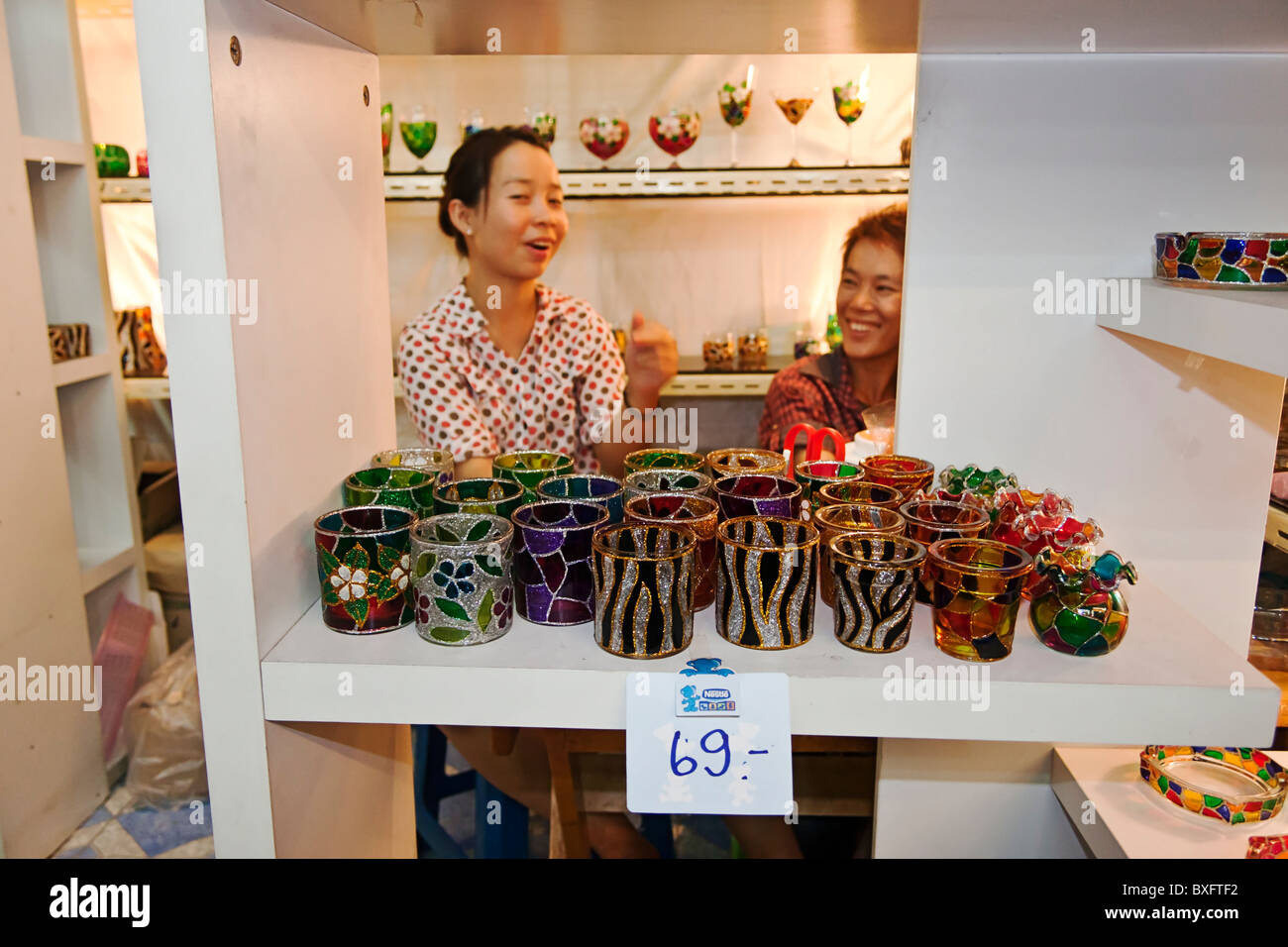 Glassware for sale at Chatuchak Weekend Market, Bangkok, Thailand. - Stock Image