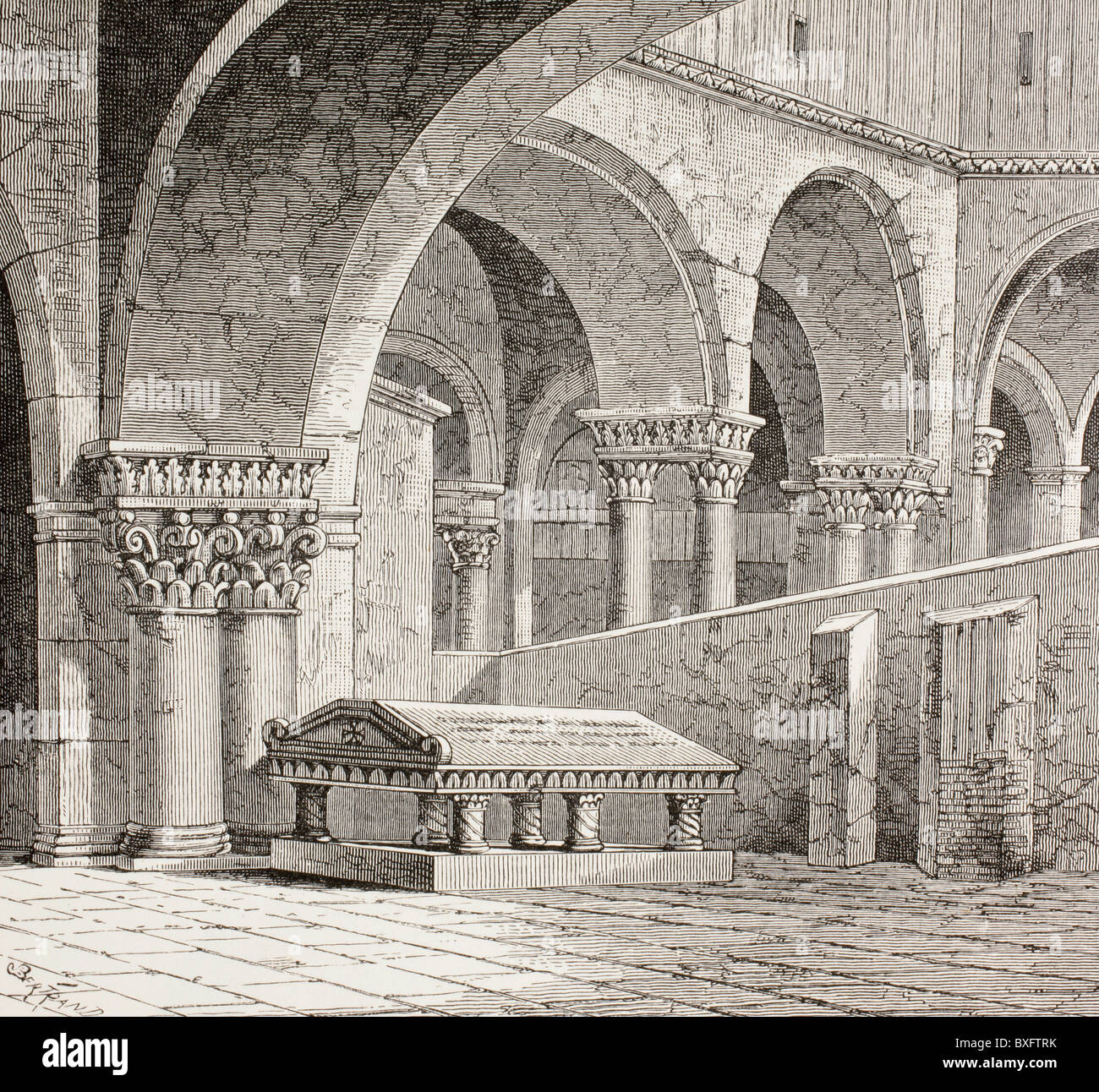 Tomb of Godfrey de Boullon, c 1060 - 1100, as it existed in the Church of the Holy Sepulchre, Jerusalem. Tomb is - Stock Image
