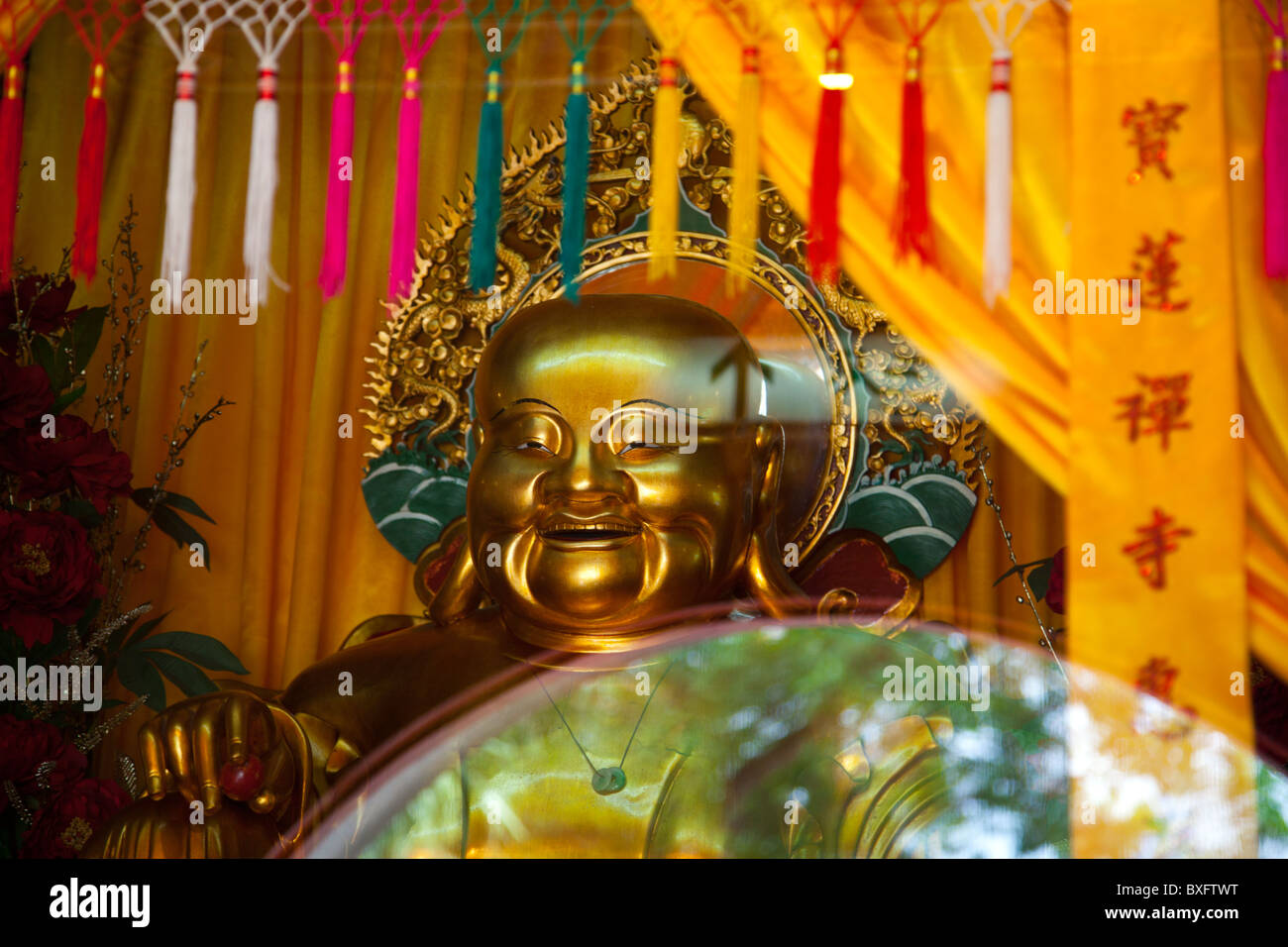 The Po Lin Monastery is located in Ngong Ping on Lantau Island in Hong Kong. Detail inside the monastery - Stock Image