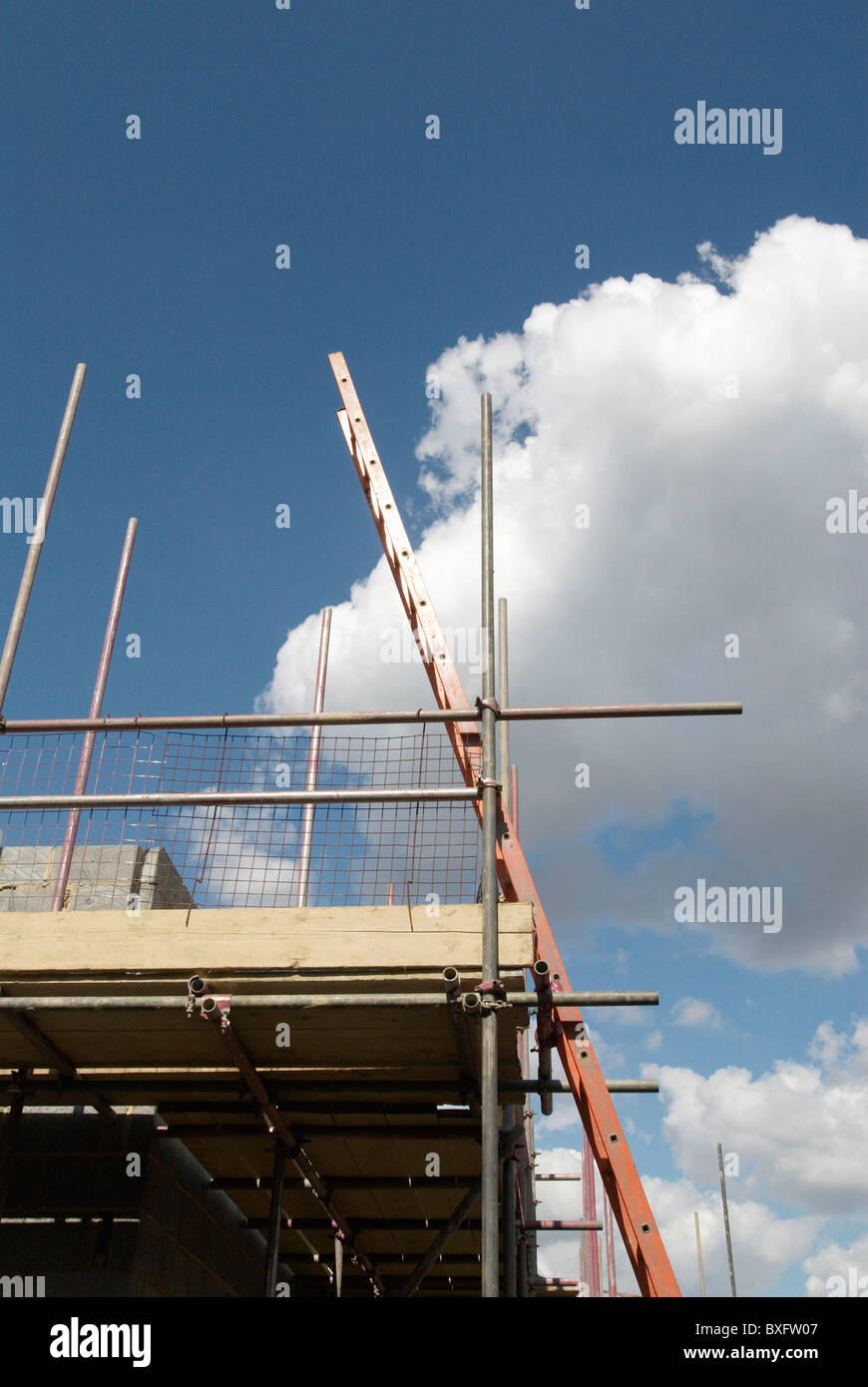 Ladder attached to scaffolding UK - Stock Image