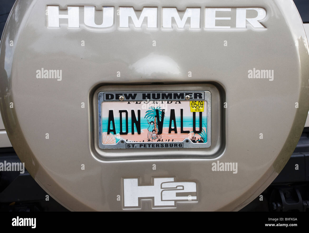 Vehicle registration plate on Hummer sports utility vehicle in Anna Maria Island, United States of America - Stock Image