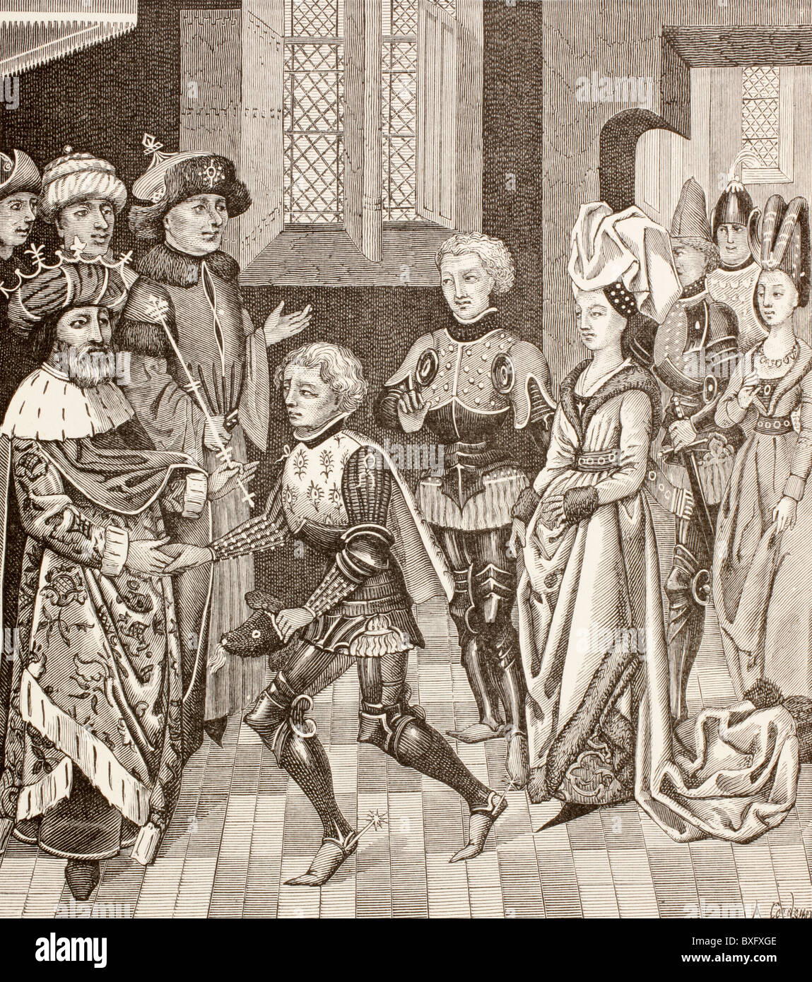 Reception of Gautier-sans-Avoir by the King of Hungary, who permits him to pass through his territory with the Crusaders. - Stock Image