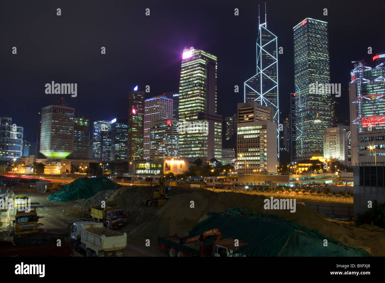The amazing Hong Kong skyline as seen from Kowloon. The imposing structures include bank of china, Stock Photo