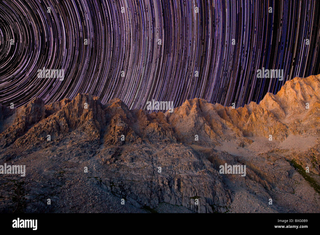 Star Trails at Mt. Darwin - Stock Image