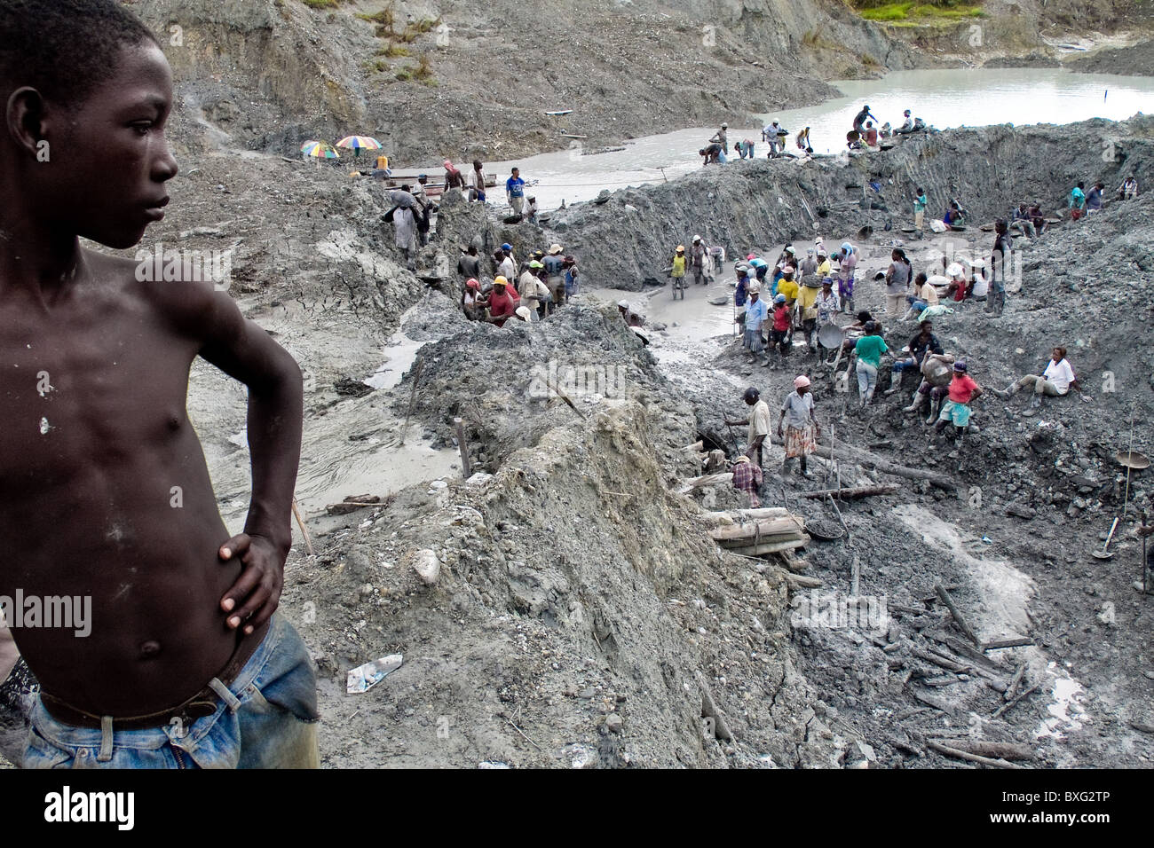 Gold mining leaves the Choco jungle (Colombia) environmentally damaged. - Stock Image