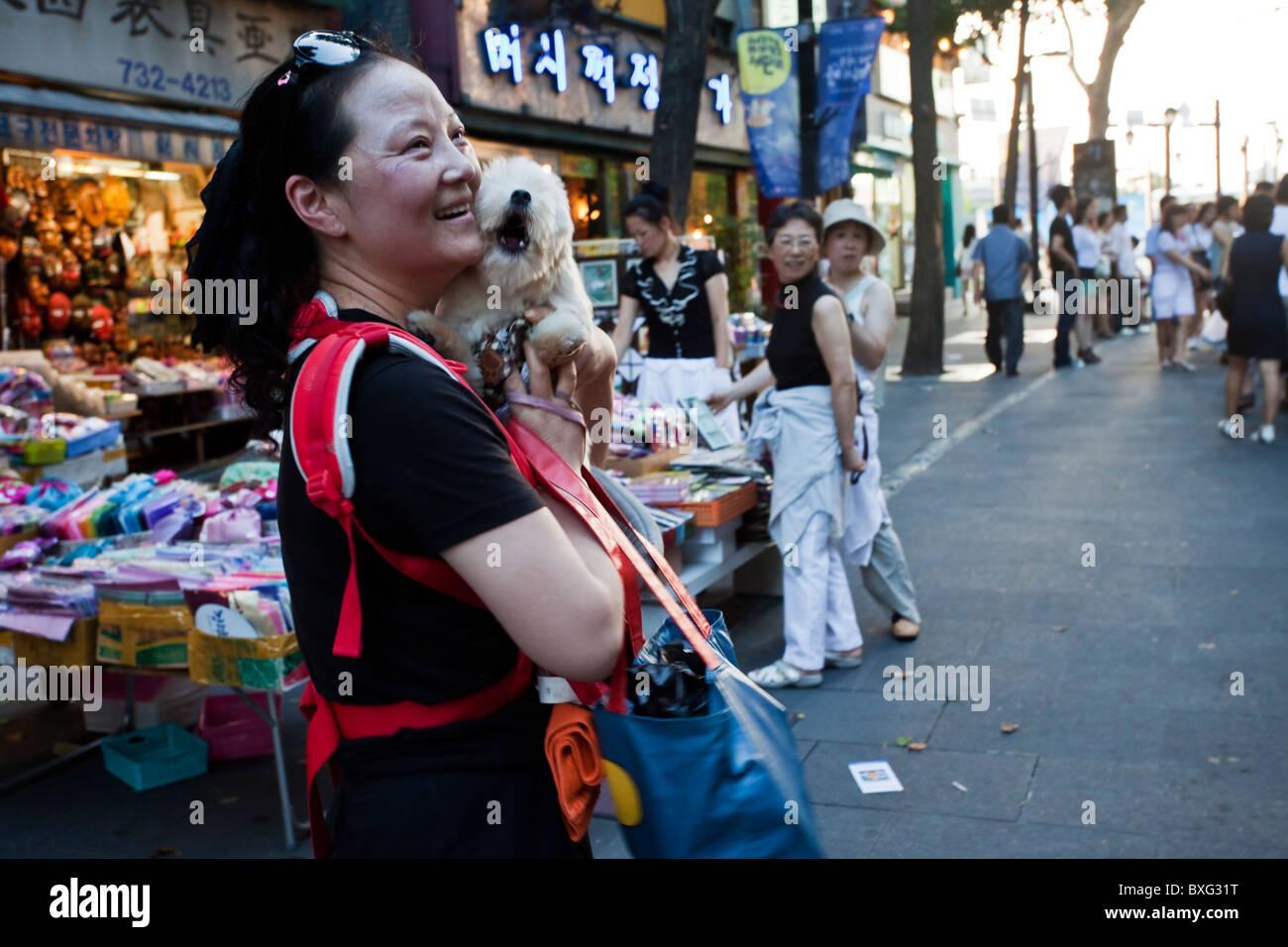 Korean woman with her dog, Seoul, South Korea - Stock Image