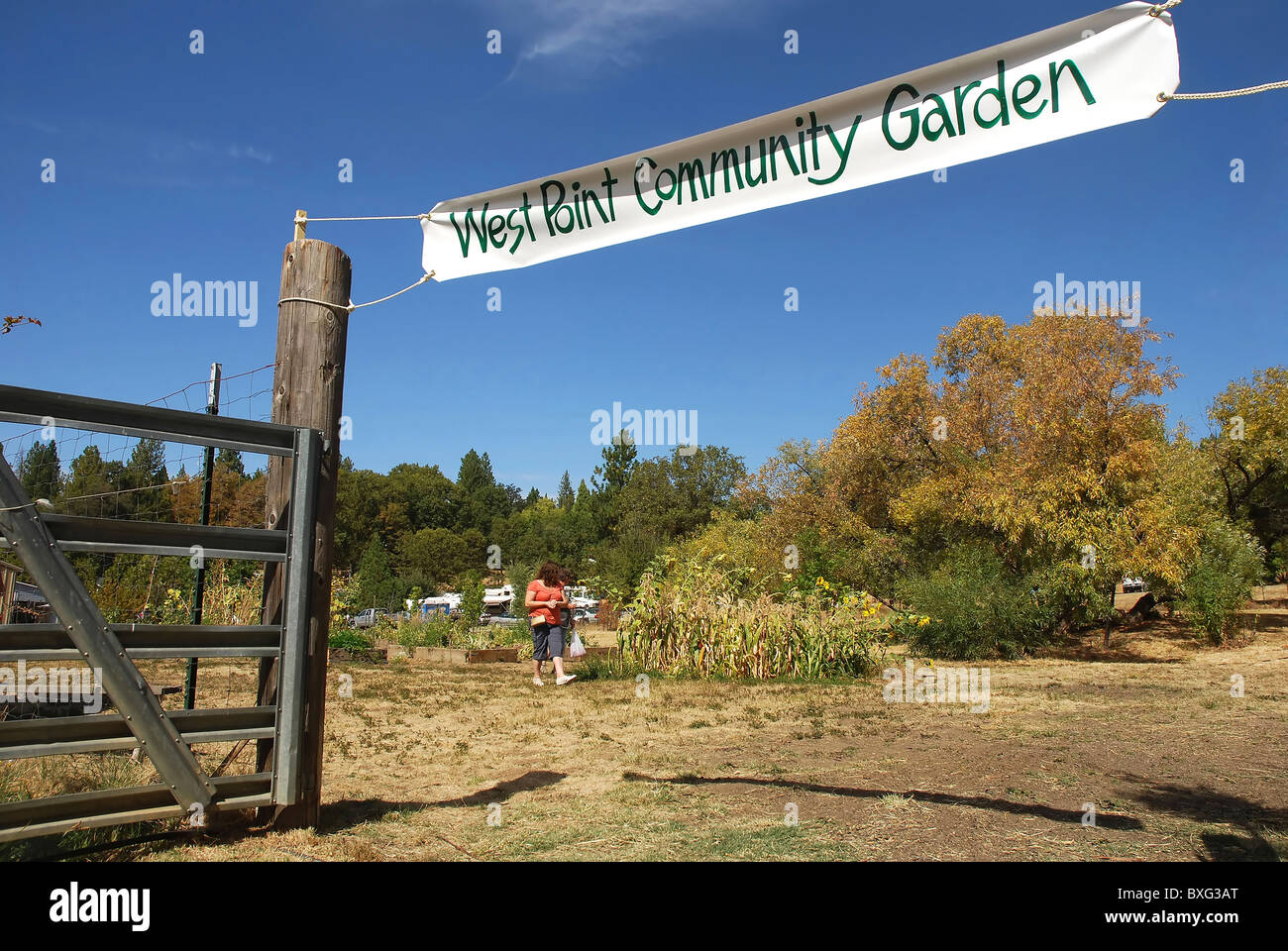 Entrance to Community Garden in West Point, California Stock Photo