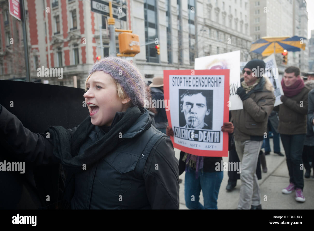 Protesters demonstrate in New York against the Smithsonian Museum censorship - Stock Image