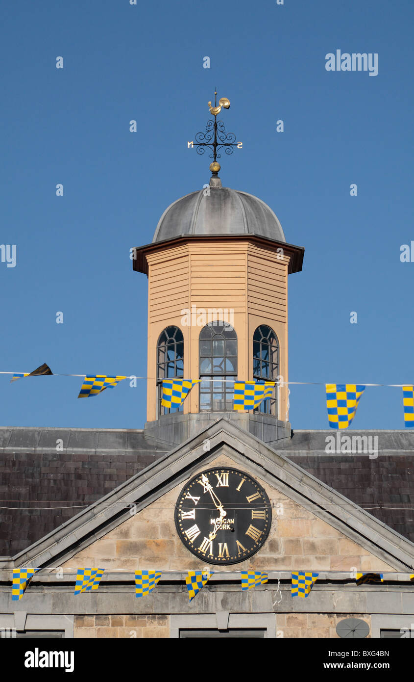 The clock tower and octagonal cupola of the Main Guard House, Clonmel, County Tipperary, Ireland (Eire). Stock Photo