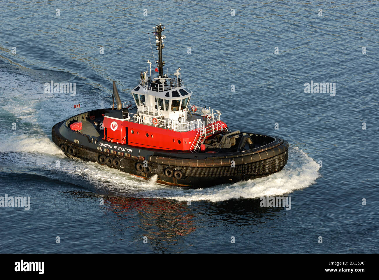 New AZ 30/80-class terminal/escort tug, Seaspan Resolution is a state of the art  $18 million, 28 Meter tug based - Stock Image