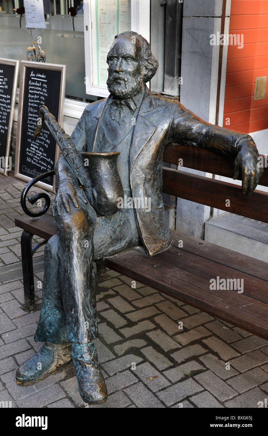 Sculpture of Adolfe Saxe, inventor of saxophone in his home city of Dinant, Ardennes, Belgium - Stock Image