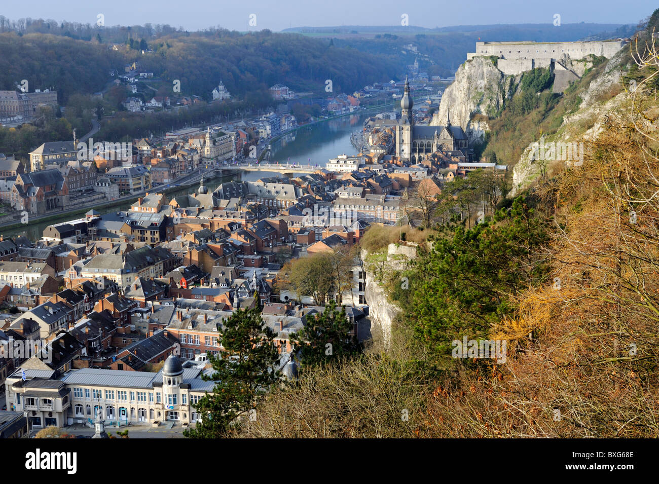 Collegiate Church of Notre-Dame, The citadel and the River Meuse, the city of Dinant, province of Namur, Ardennes, - Stock Image
