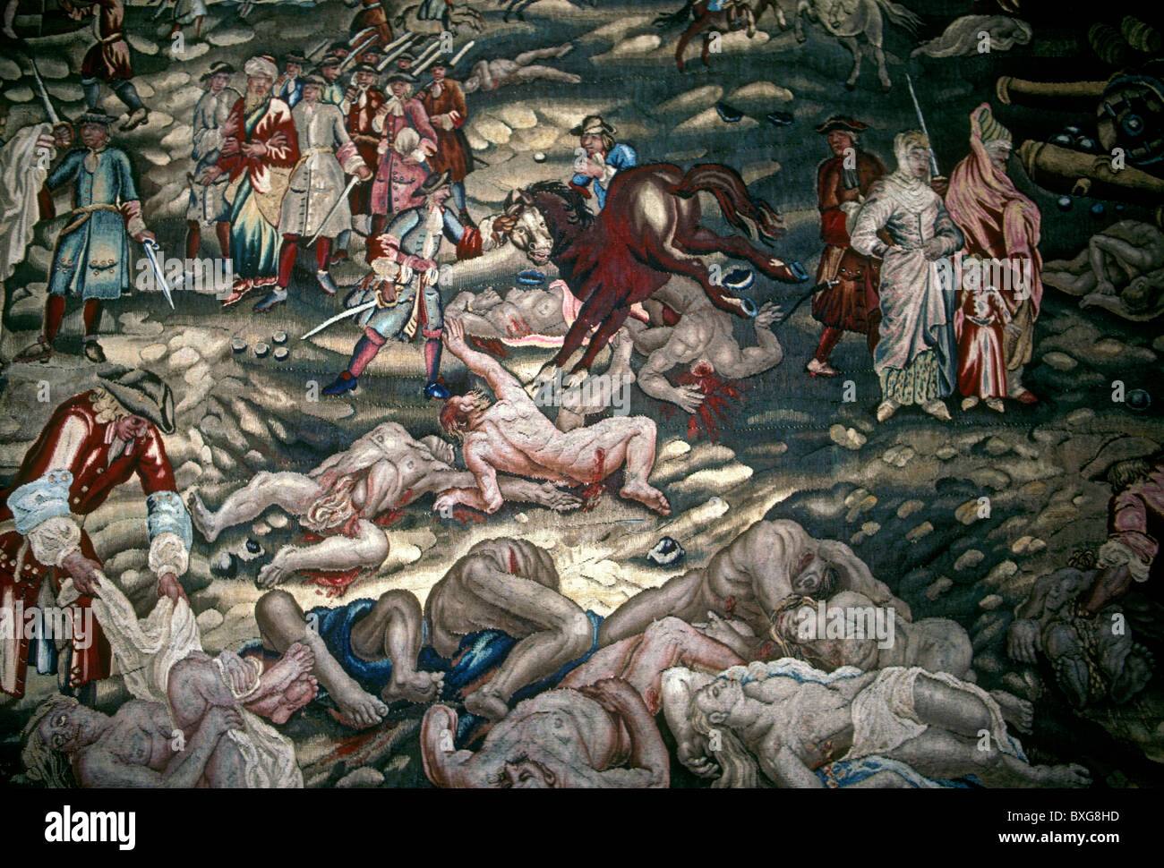 tapestry, La Prise du Bude, 1684, 17th-century, by Charles Mitte, Lorrain Historical Museum, city of Nancy, Nancy, - Stock Image