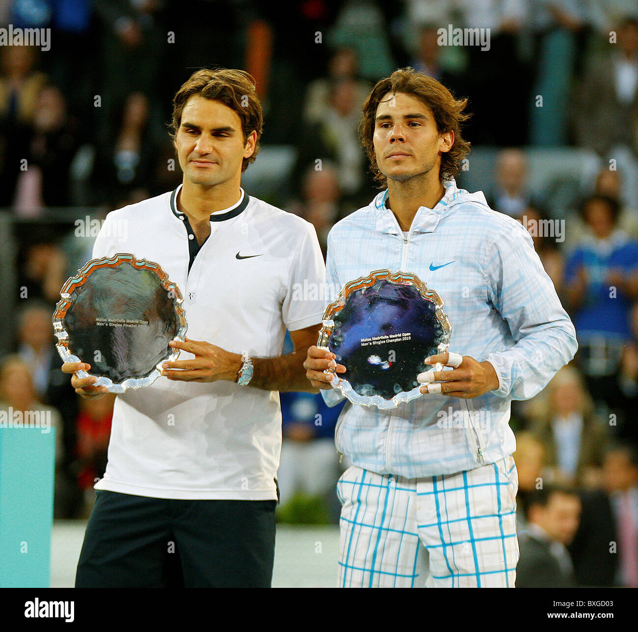 Rafael Nadal defeated defending champion Roger Federer 6-4 7-6 in the Madrid Masters final, - Stock Image