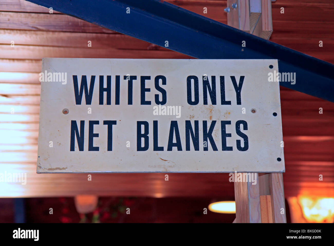 Old Apartheid sign on display at Evita se perron, Darling, Western Cape, South Africa - Stock Image