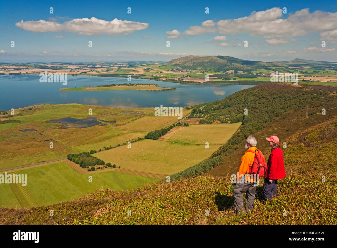 Loch Leven, Bishop Hill and the Lomond Hills from Benarty Hill - Stock Image