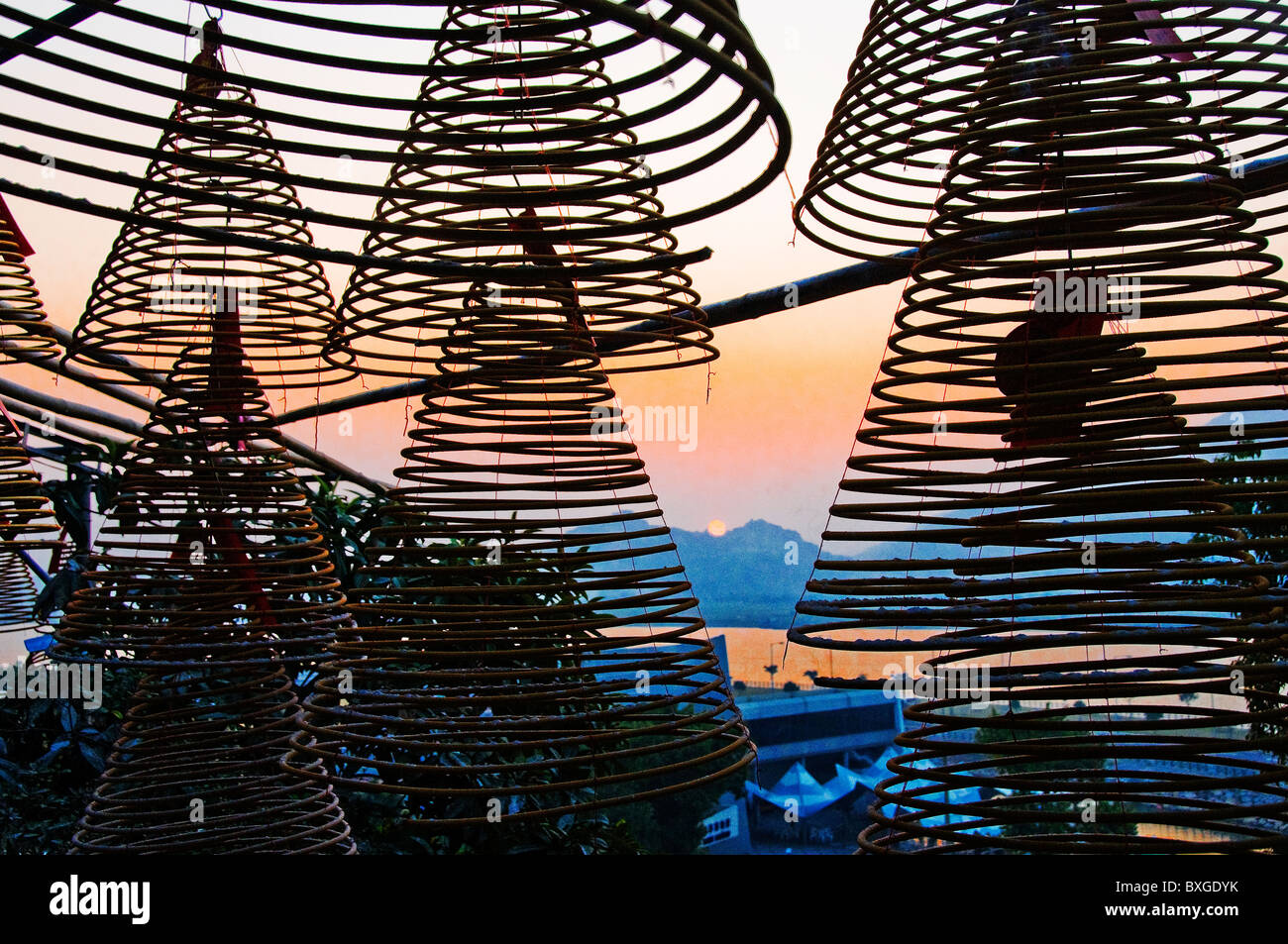 Incense coils in A Ma temple in Macau Hong Kong China Stock Photo