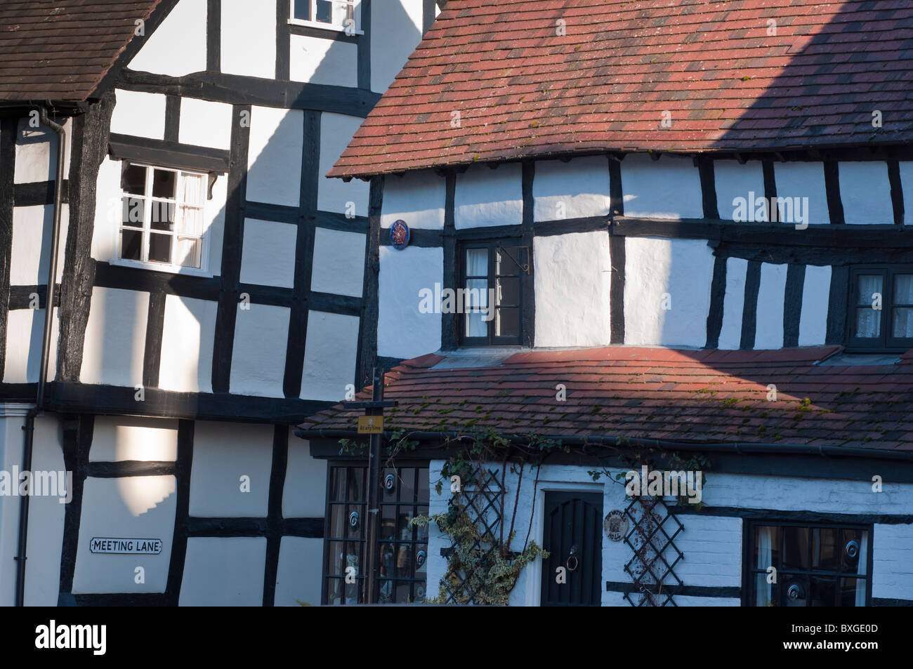 Timber framed buildings in the market town of Alcester in Warwickshire, England - Stock Image