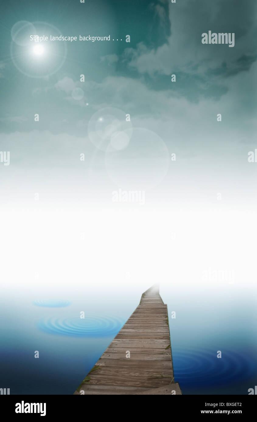 landscape in illustration - Stock Image
