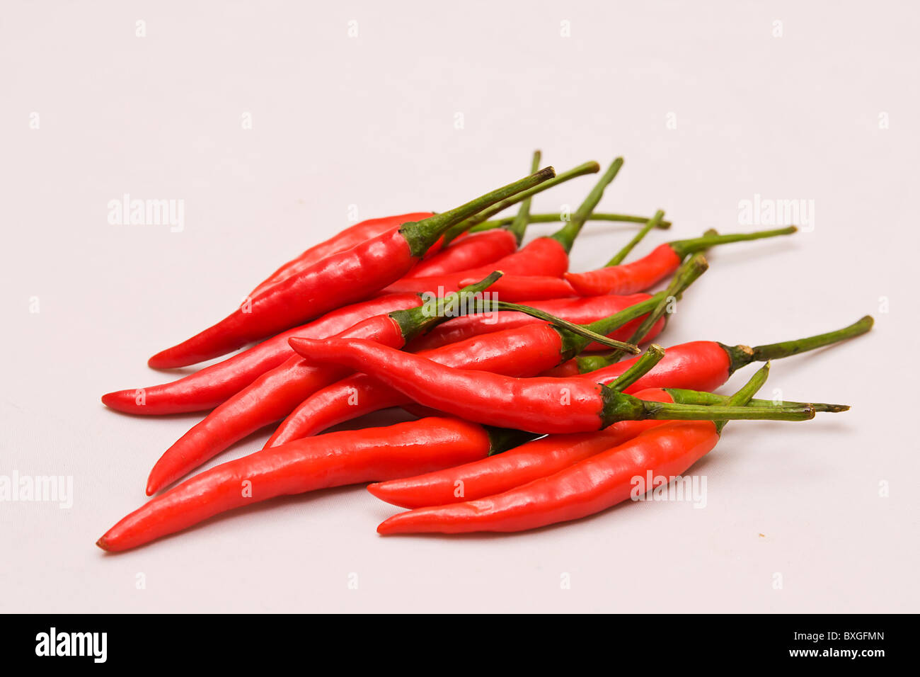 Bunch of Thai chili peppers - Stock Image